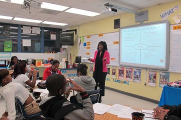 English teacher Valet Tucker teaches 10th grade honors students. She says she's not surprised that more than half the students who took Florida's college placement exam in the 2010-2011 school year failed at least one subject. (Photo by Sarah Gonzalez/StateImpact Florida.)