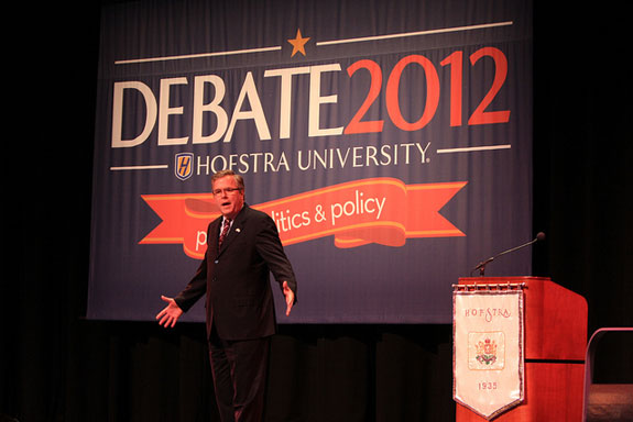 Former Florida Governor Jeb Bush discussed immigration policy, education, the economy, and why he chose not to run for president in 2012 during a speech at the John Cranford Adams Playhouse September 19, 2012, as part of Hofstra University's Debate 2012 fall semester Signature Speaker Series.