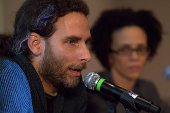 "Cuban writer, blogger and photographer Orlando Luis Pardo joined Yoani Sánchez in New York. He told reporters that Cuba is a ""medieval country"" when it comes to press freedom. ""There is no freedom of expression in Cuba,"" he said. (Photo by Tracey Eaton.)"