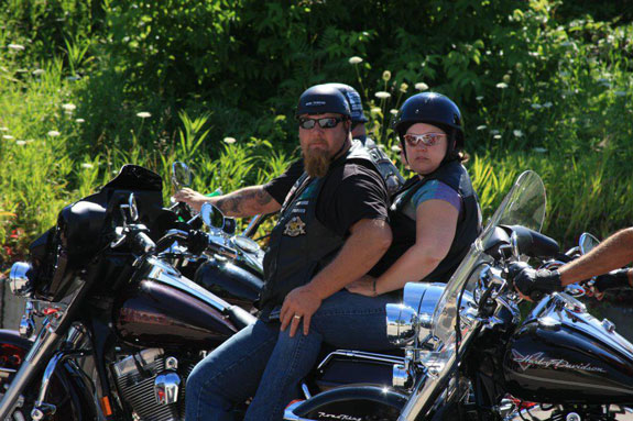 In Vermont, Jeff Miller, a truck driver who taught helmet safety for a local Harley dealer, crashed his bike into the back of an SUV last September, suffering multiple skull fractures; he was wearing a novelty helmet. (Photo courtesy of Dawn Miller.)