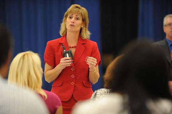 Florida Education Association Vice President Joanne McCall speaks to staff at Lee Middle School in Orlando. (Photo courtesy of the National Education Association.)