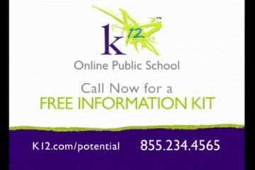 K12, and other virtual school operators, are spending public funds on advertising. (Screengrab of K12 ad)