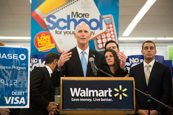 Gov. Rick Scott's re-election campaign is flush with cash more than a year out from re-election. (Photo via Flgov.com)
