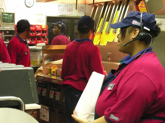 A new reports shows low wages for fast food industry workers is costing states like Florida millions of dollars. (Photo via Judy Baxter)