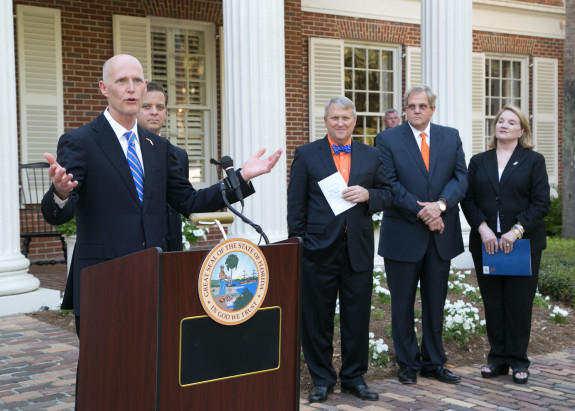 Gov. Rick Scott is in a tough fight with Republican state lawmakers over in-state tuition bill. (Photo via FLGov.com)