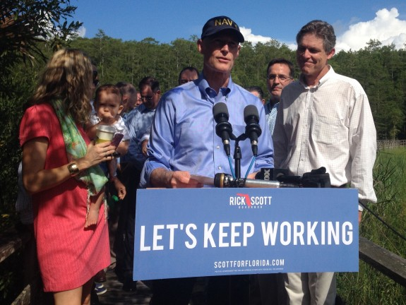 Gov. Rick Scott lays out his environmental plan during re-election campaign. (Photo by Topher Forhecz/WGCU)
